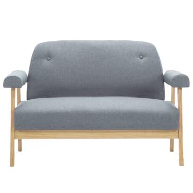 vidaXL Dvojmiestna pohovka, textilná bledosivá[3/8]