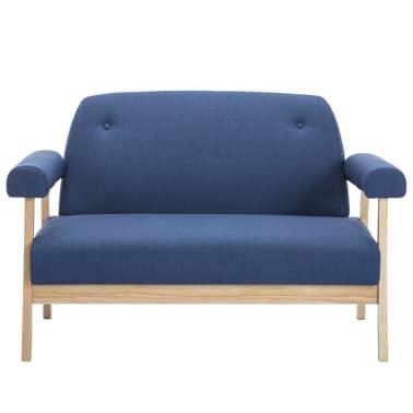 vidaXL Dvivietė sofa, audinys, mėlyna[3/8]