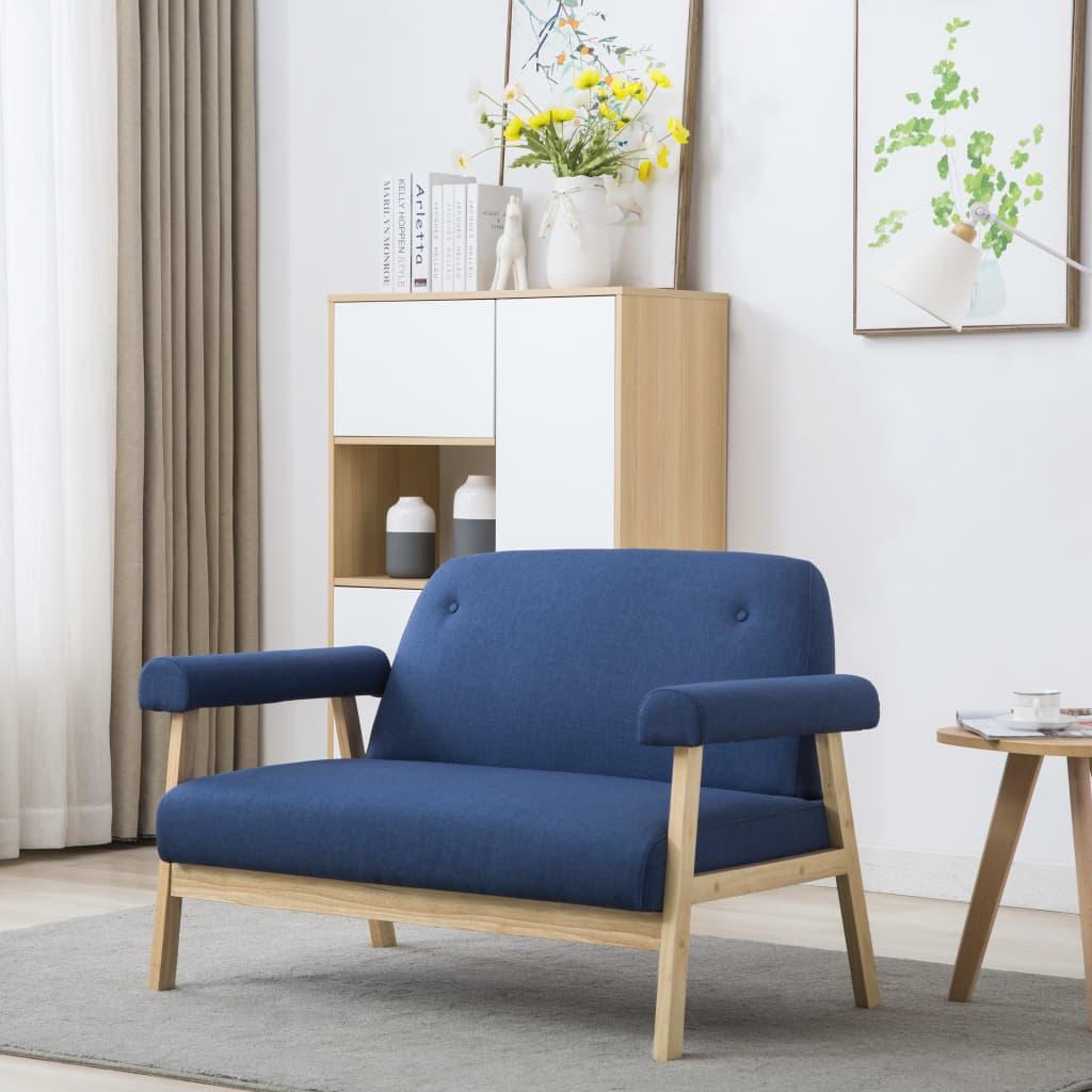 vidaXL 2místná sedačka textil modrá