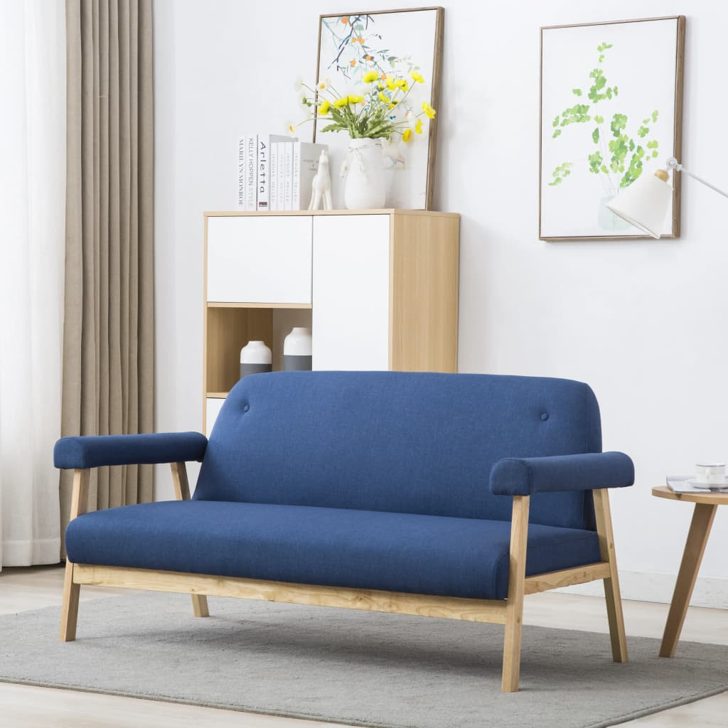 vidaXL Sofa 3-osobowa tapicerowana tkaniną, niebieska