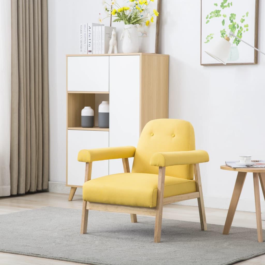 vidaXL Fotel, żółty, tkanina