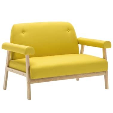 vidaXL Dvivietė sofa, audinys, geltona[2/8]