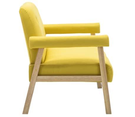 vidaXL Dvivietė sofa, audinys, geltona[4/8]