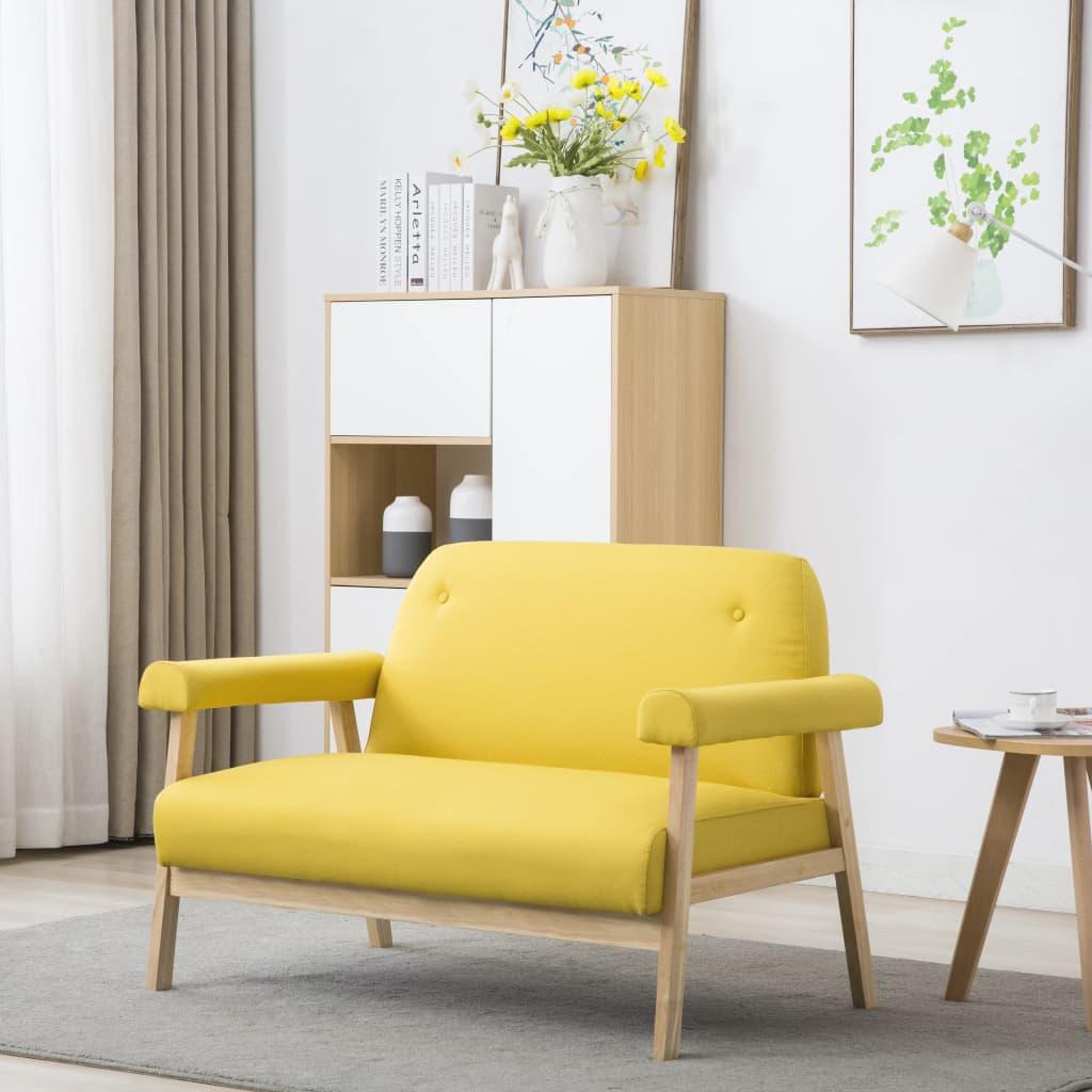 vidaXL Sofa 2-osobowa tapicerowana tkaniną, żółta