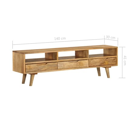 "vidaXL TV Cabinet Solid Mango Wood 55.1""x11.8""x16.1""[11/13]"