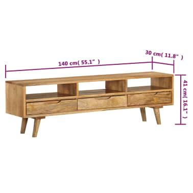 "vidaXL TV Cabinet Solid Mango Wood 55.1""x11.8""x16.1""[10/13]"
