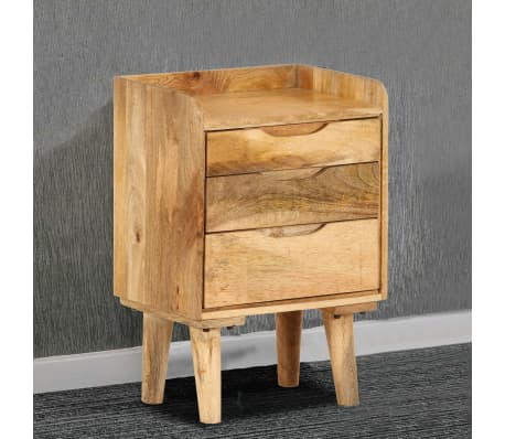 "vidaXL Bedside Cabinet Solid Mango Wood 15.7""x11.8""x23.4""[2/16]"