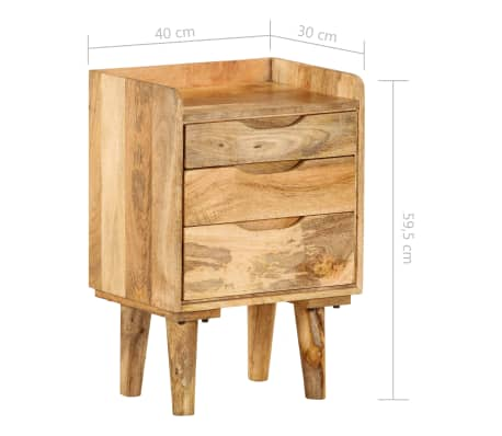 "vidaXL Bedside Cabinet Solid Mango Wood 15.7""x11.8""x23.4""[13/16]"