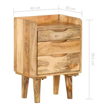 "vidaXL Bedside Cabinet Solid Mango Wood 15.7""x11.8""x23.4""[12/16]"