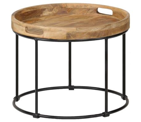 vidaXL Kavos staliukas, 50x40cm, mango medienos masyvas ir plienas[11/12]