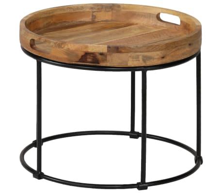 vidaXL Kavos staliukas, 50x40cm, mango medienos masyvas ir plienas[3/12]
