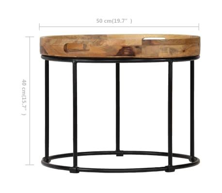 vidaXL Kavos staliukas, 50x40cm, mango medienos masyvas ir plienas[8/12]