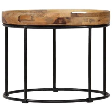 vidaXL Kavos staliukas, 50x40cm, mango medienos masyvas ir plienas[2/12]