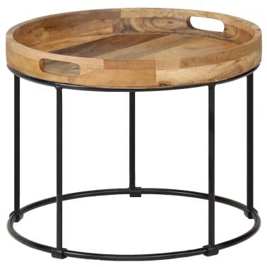 vidaXL Kavos staliukas, 50x40cm, mango medienos masyvas ir plienas[12/12]