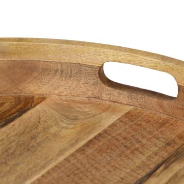 vidaXL Kavos staliukas, 50x40cm, mango medienos masyvas ir plienas[4/12]