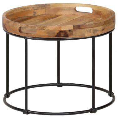 vidaXL Kavos staliukas, 50x40cm, mango medienos masyvas ir plienas[9/12]