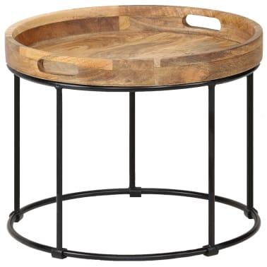 vidaXL Kavos staliukas, 50x40cm, mango medienos masyvas ir plienas[10/12]