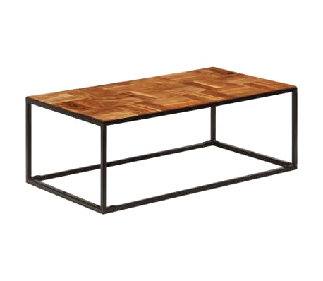 vidaXL Coffee Table 110x40x60 cm Solid Acacia Wood and Steel