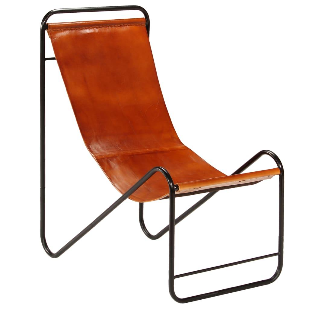 vidaXL Židle hnědá pravá kůže