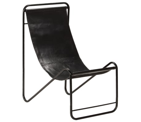 vidaXL Chair Black Real Leather
