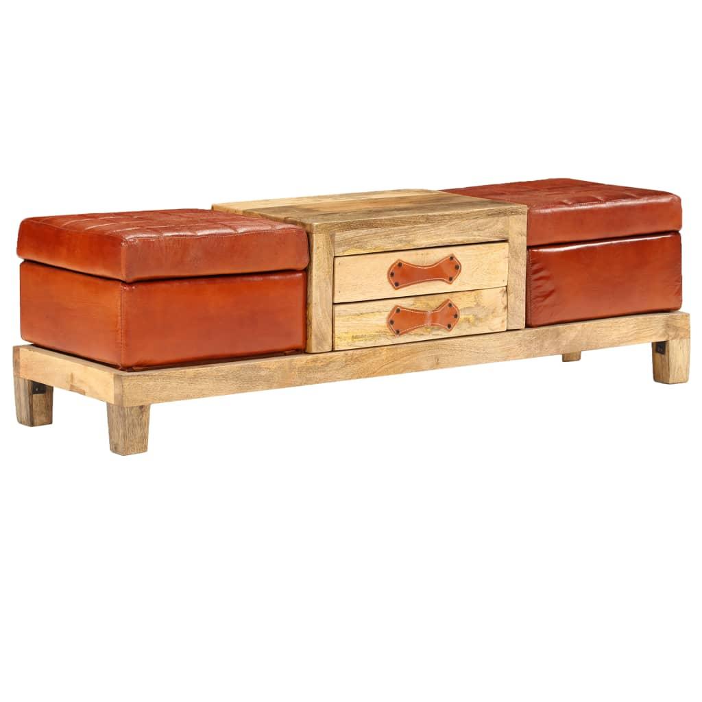 vidaXL Bancă depozitare, 120x36x36cm, lemn masiv mango, piele naturală imagine vidaxl.ro