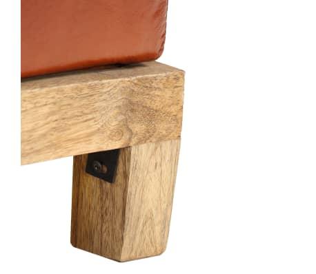 vidaXL Suoliukas-daiktadėžė, 120x36x36cm, mango med. mas., tikra oda[9/12]