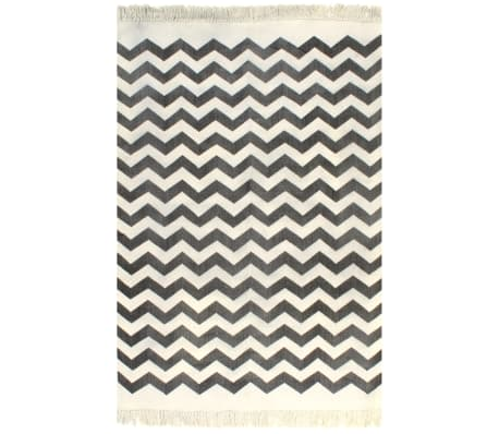 vidaXL Kilim Rug Cotton 120x180 cm with Pattern Black/White