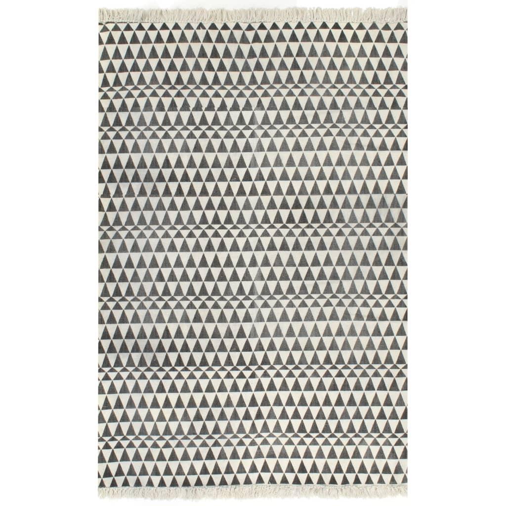 vidaXL kilim-tæppe med mønster bomuld 160 x 230 cm sort/hvid