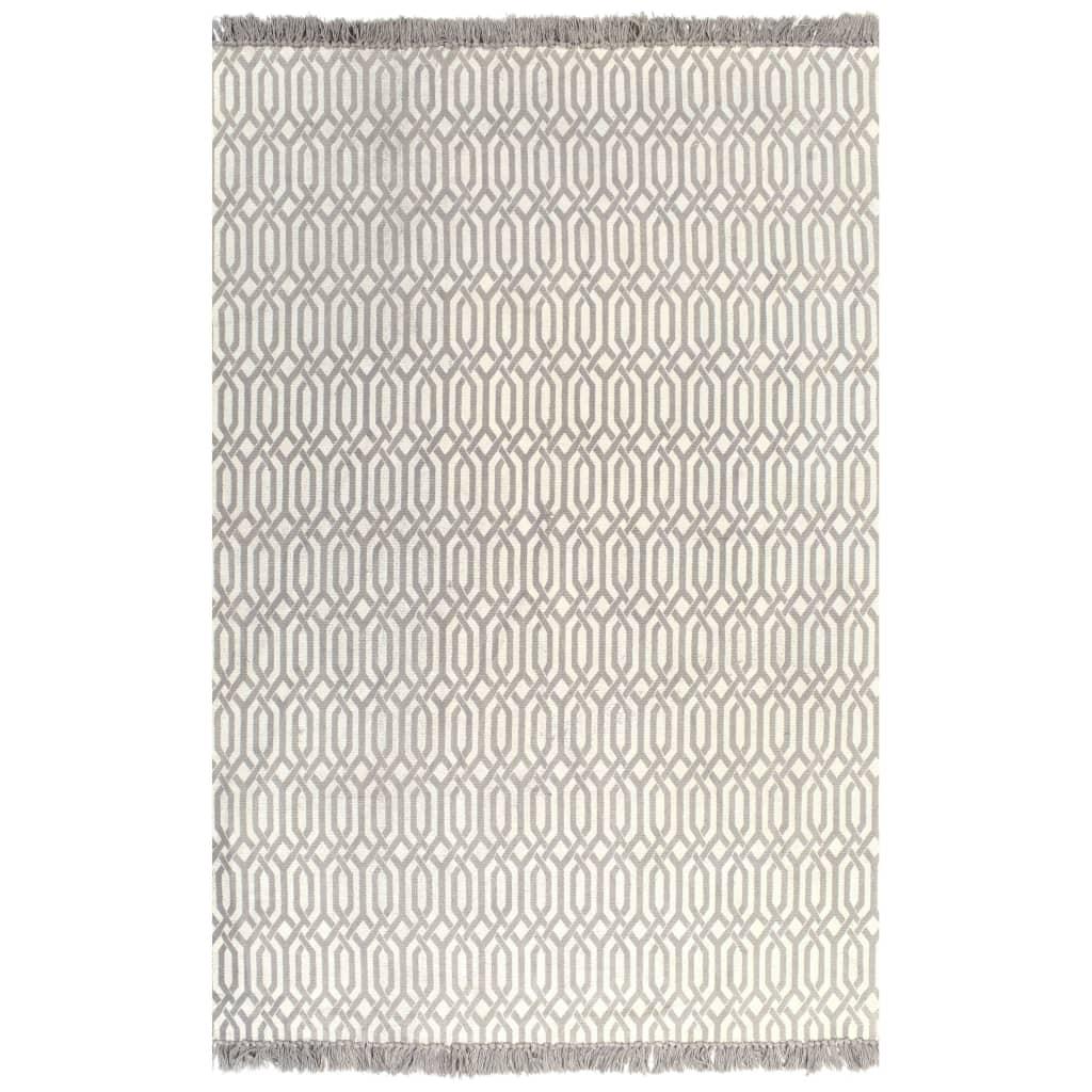 vidaXL kilim-tæppe med mønster bomuld 160 x 230 cm gråbrun