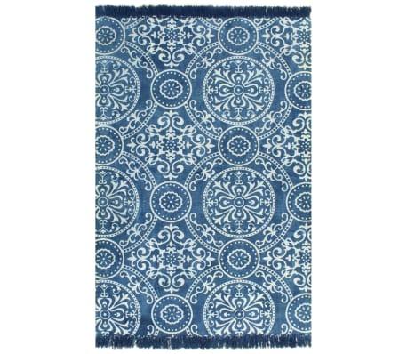 vidaXL Koberec Kilim se vzorem bavlněný 120 x 180 cm modrý