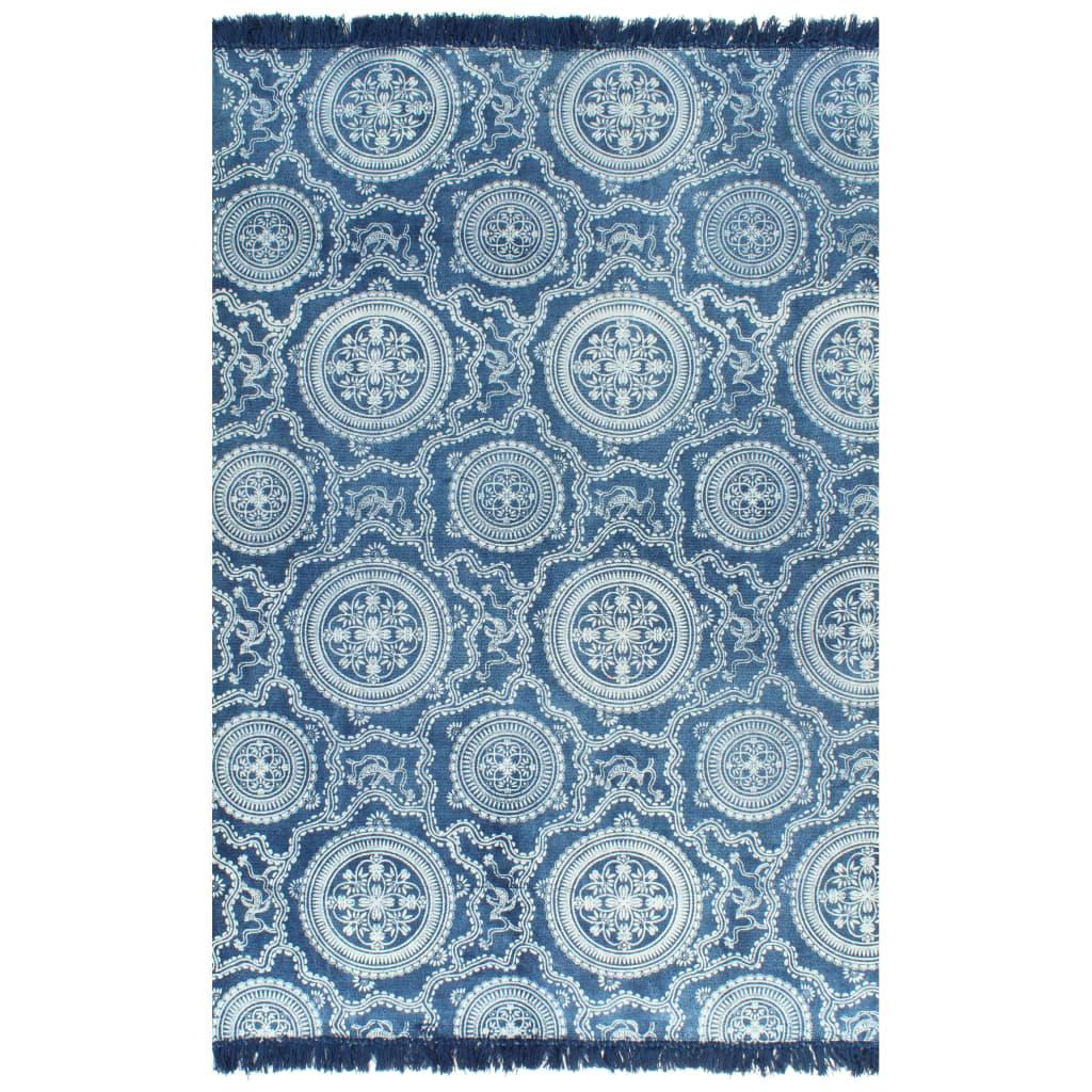<ul><li>Farbe: Blau</li><li>Material: 100% Baumwolle</li><li>Größe: 160 x 230 cm (B x L)</li><li>Mit schönen, dekorativen Quasten an beiden Enden</li><li>Handgefertigt und mit ansprechendem Muster bedruckt</li><li>Vintage-Look</li><li>Jedes Stück ist ein Unikat</li></ul>