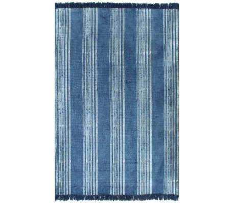 vidaXL Koberec Kilim se vzorem bavlněný 160 x 230 cm modrý