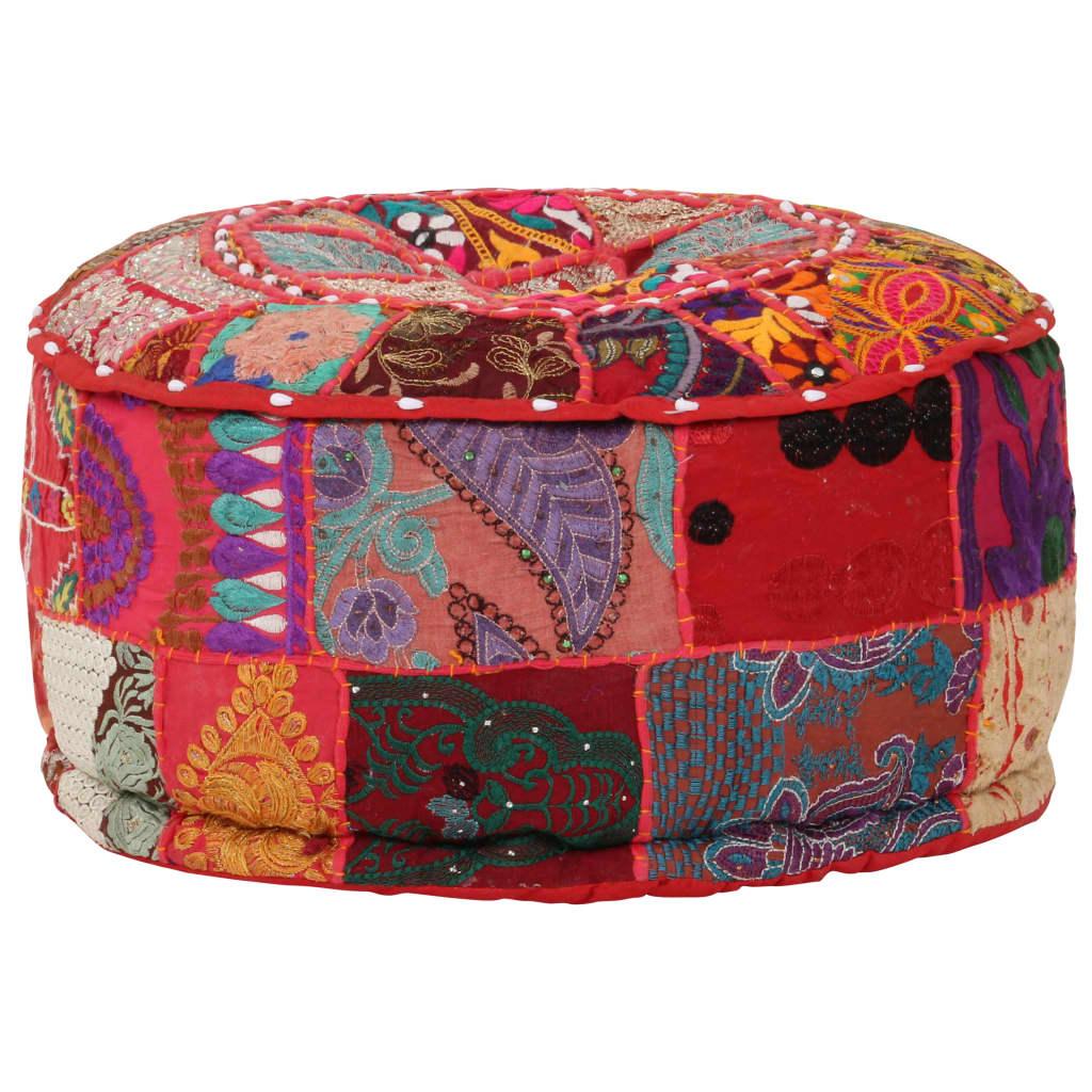 Sedací puf patchwork kulatý bavlna ruční výroba 40x20cm červený