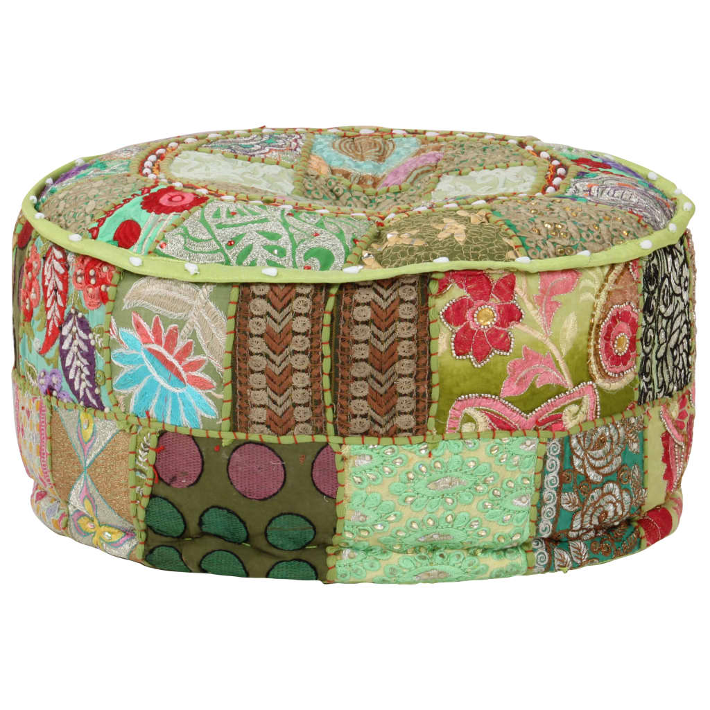 Sedací puf patchwork kulatý bavlna ruční výroba 40x20 cm zelený