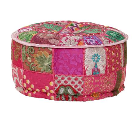 vidaXL Okrągły puf patchworkowy, ręcznie robiony, 40 x 20 cm, różowy[1/7]