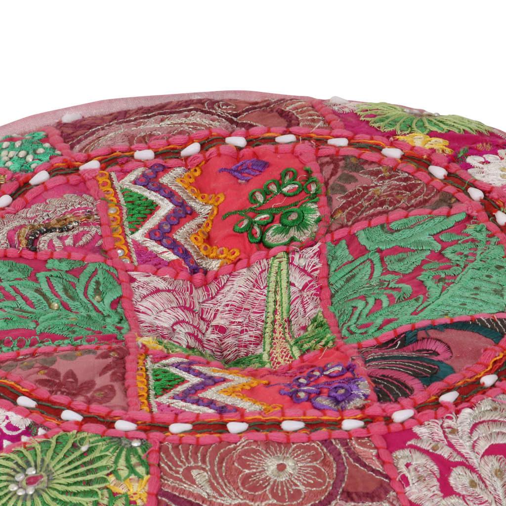 999246574 Patchwork Sitzpouf Rund Baumwolle Handgefertigt 40x20 cm Rosa