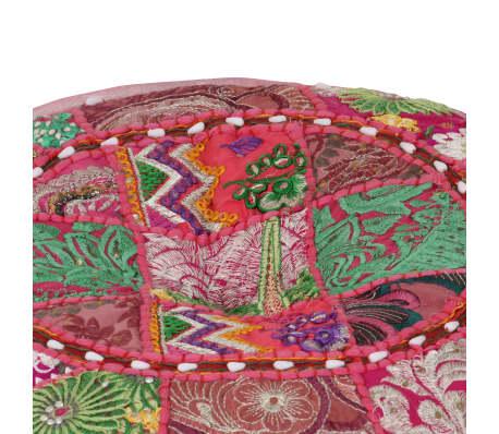vidaXL Okrągły puf patchworkowy, ręcznie robiony, 40 x 20 cm, różowy[2/7]