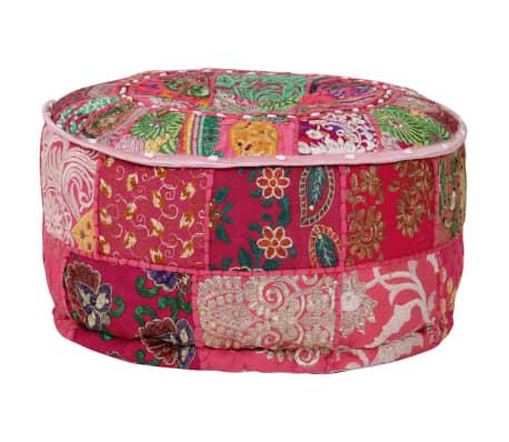 vidaXL Okrągły puf patchworkowy, ręcznie robiony, 40 x 20 cm, różowy[4/7]