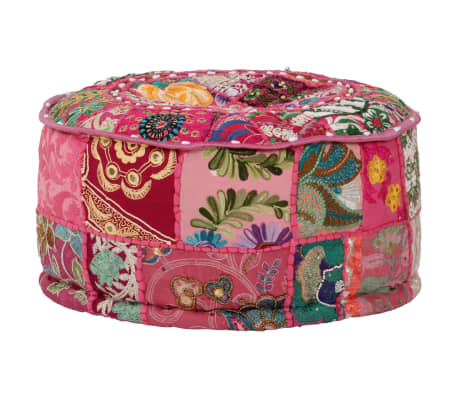 vidaXL Okrągły puf patchworkowy, ręcznie robiony, 40 x 20 cm, różowy[6/7]