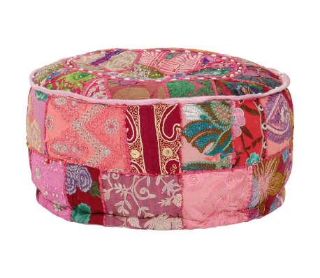 vidaXL Okrągły puf patchworkowy, ręcznie robiony, 40 x 20 cm, różowy[7/7]