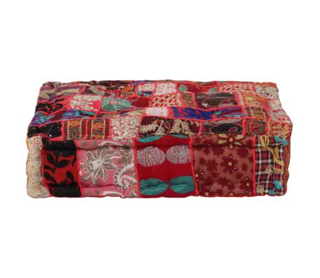 vidaXL Pouf carré en coton fait à la main 50 x 50 x 12 cm Rouge