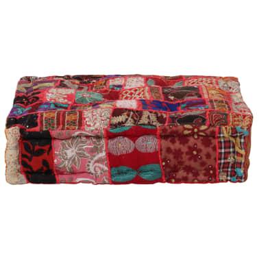 vidaXL Patchwork Pouffe Square Cotton Handmade 50x50x12 cm Red[1/6]