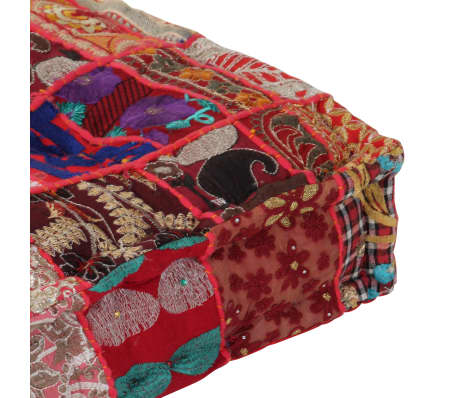 vidaXL Patchwork Pouffe Square Cotton Handmade 50x50x12 cm Red[2/6]