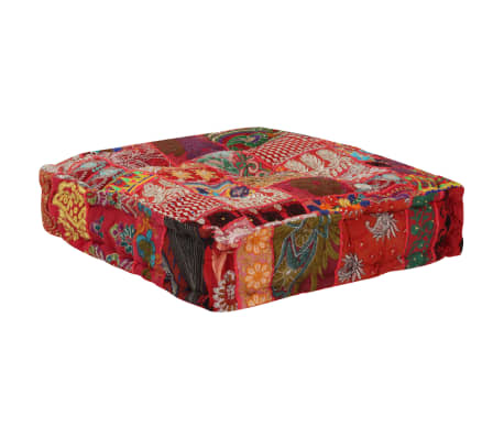 vidaXL Patchwork Pouffe Square Cotton Handmade 50x50x12 cm Red[3/6]
