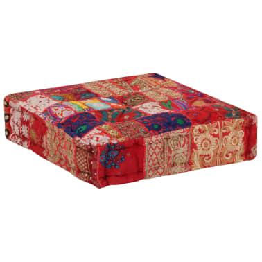 vidaXL Patchwork Pouffe Square Cotton Handmade 50x50x12 cm Red[4/6]