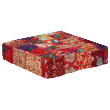 vidaXL Patchwork Pouffe Square Cotton Handmade 50x50x12 cm Red[5/6]
