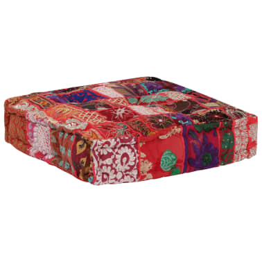 vidaXL Patchwork Pouffe Square Cotton Handmade 50x50x12 cm Red[6/6]
