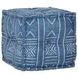vidaXL Puf cubo de algodón estampado hecho a mano 40x40 cm añil