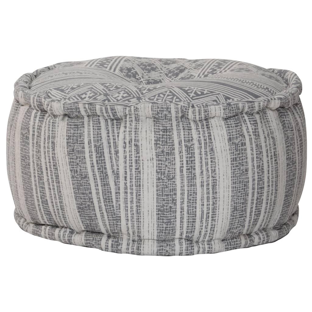 Sedací puf kulatý se vzorem šedý ručně vyrobený 50x25 cm bavlna