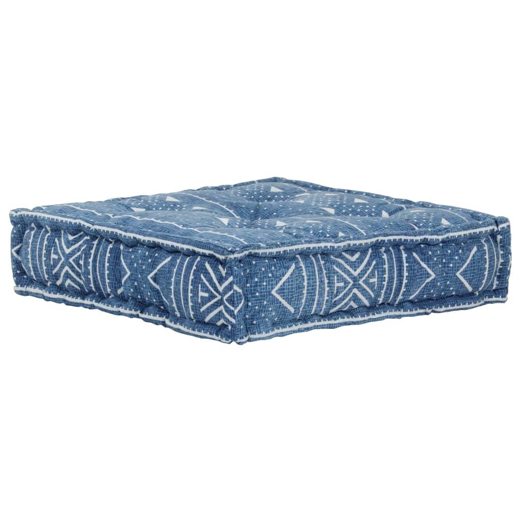 vidaXL Poef patroon handgemaakt vierkant 50x50x12 cm katoen blauw